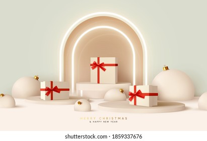 Merry Сhristmas and Happy New Year. Realistic design, white gift boxes with red ribbon, light balloons, neon arch, round realistic stage, podium, Xmas studio. Holiday background with 3d rednder object