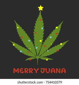 Merry Juana cannabis leaf tree postcard vector illustration