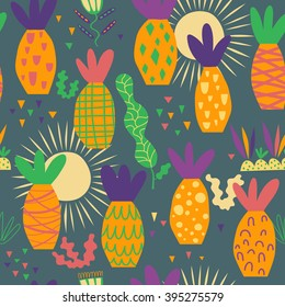 Merry pattern with palm trees. Bright palm trees, good weather, seamless vector for good holidays