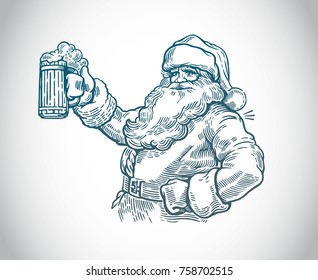 Merry Santa Claus with a beer in hand.