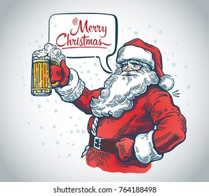 Merry Santa Claus with a beer in hand and with a speech bubble.