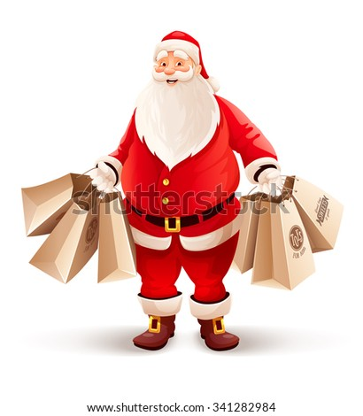 Merry Santa Claus Shopping Bags Buys Stock Vector Royalty Free