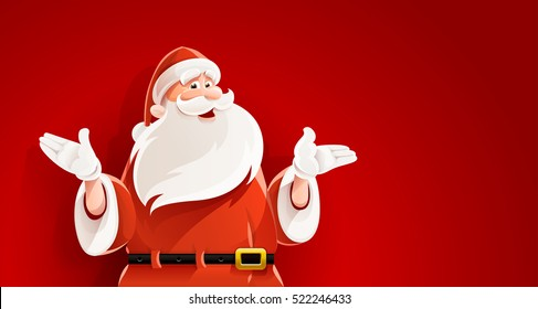 Merry Santa Claus. Smiling cartoon old man in clauses suit telling Christmas holiday story vector illustration. Mens figure on red background