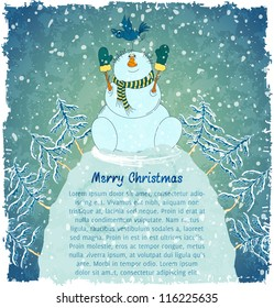 Merry snowman with bird on hill. Christmas landscape with snowfall. Blue vintage background. Vector Illustration.