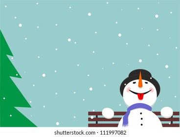 Merry snowman sitting on the bench catching snowflakes language