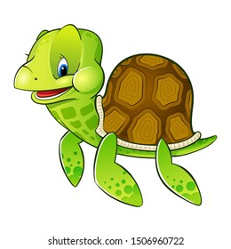 Merry vector turtle on a white background.