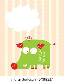 merry wild boar greeting card