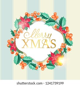 Merry xmas card with badge for text and misletoe wreath on the blue tile background. Holiday invitation card with poinsettia floral border. Vector illustration.