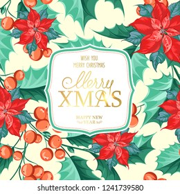 Merry xmas card with badge for text and misletoe pattern on the white background. Holiday invitation card with poinsettia floral background. Vector illustration.