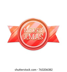 Merry Xmas. Christmas Banner Badge Isolated on White Background. Xmas Card with Text and Ribbon. Festive Vector Illustration in Red Colors. Design Element.