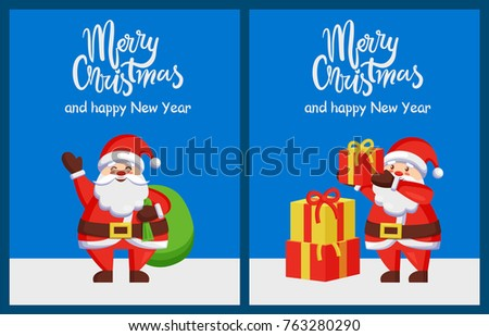 Merry Xmas Happy New Year Poster Stock Vector (Royalty Free ...