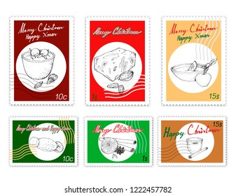 Merry Xmas, Post Stamps Set of Illustration Hand Drawn Sketch of Cougnou or Bread of Jesus, Torrone or Nougat, Wassail, Eggnog, Risalamande, Star Anise and Cinnamon Sticks with Dried Orange.