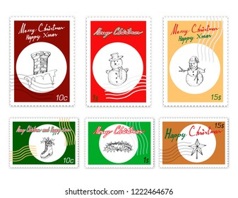 Merry Xmas, Post Stamps Set of Illustration Hand Drawn Sketch of Crown of Thorns, Moravian Stars, Snowman, Fireplace and Ice Skate with Holly Twigs. Sign for Start Christmas Celebration.