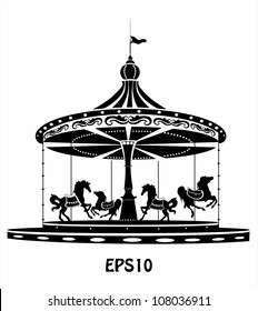 Merry-Go-Round black and white silhouette
