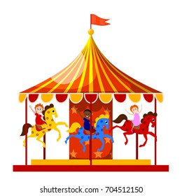 Merry-go-round is circling the merry children. Vector illustration.