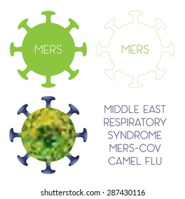 MERS Coronavirus (Middle East Respiratory Syndrome, MERS-Cov, Camel flu). Icon of the virus in flat, linear and mesh styles. Vector Illustration EPS10.
