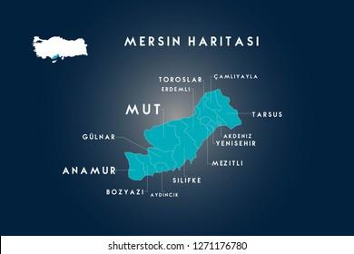 Mersin districts mut, toroslar, erdemli, gulnar, anamur, bozyazi, aydincik, silifke, mezitli, yenisehir, akdeniz, tarsuz, camliyayla map, Turkey