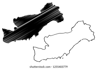 Mersin (Provinces of the Republic of Turkey) map vector illustration, scribble sketch Mersin ili map