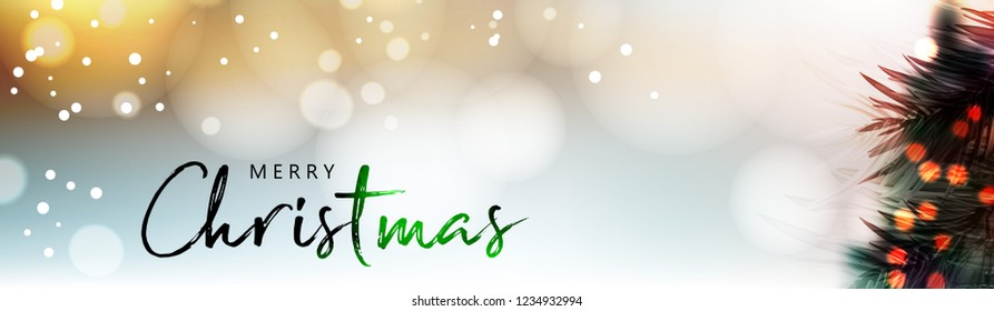 Mery Christmas 2018 calligraphy text of merry christmas with creative background and snowflakes and christmas tree vector illustration