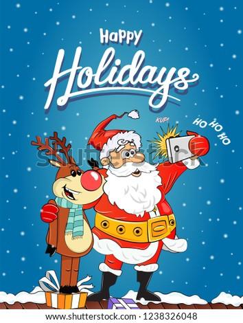 Mery Christmas Celebration Cute Santa Claus Stock Vector (Royalty ...