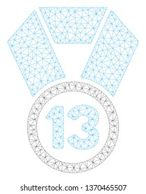 Mesh 13th place medal polygonal icon illustration. Abstract mesh lines and dots form triangular 13th place medal. Wire frame 2D polygonal line network in vector format isolated on a white background.