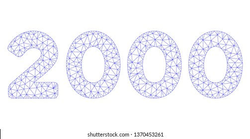 Mesh 2000 digits text polygonal 2d illustration. Abstract mesh lines and dots form triangular 2000 digits text. Wire frame 2D polygonal line network in vector format isolated on a white background.