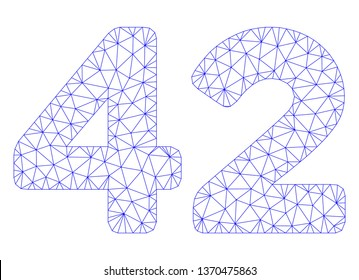 Mesh 42 digits text polygonal icon illustration. Abstract mesh lines and dots form triangular 42 digits text. Wire frame 2D polygonal line network in vector format isolated on a white background.
