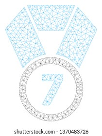 Mesh 7th place medal polygonal icon illustration. Abstract mesh lines and dots form triangular 7th place medal. Wire frame 2D polygonal line network in vector format isolated on a white background.