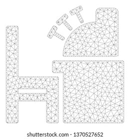 Mesh accounting office polygonal 2d illustration. Abstract mesh lines and dots form triangular accounting office. Wire frame 2D polygonal line network in vector format isolated on a white background.