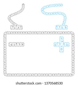 Mesh accumulator polygonal 2d illustration. Abstract mesh lines and dots form triangular accumulator. Wire frame 2D polygonal line network in vector format isolated on a white background.