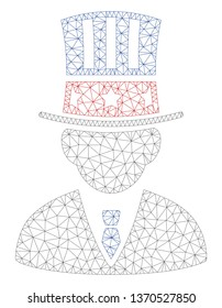 Mesh American capitalist polygonal icon illustration. Abstract mesh lines and dots form triangular American capitalist.
