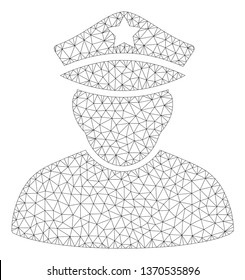 Mesh army sergeant polygonal icon illustration. Abstract mesh lines and dots form triangular army sergeant. Wire frame 2D polygonal line network in vector format isolated on a white background.