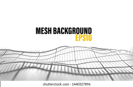 Mesh background with black line and dots