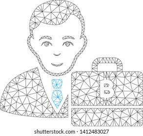 Mesh baht accounter model icon. Wire carcass triangular mesh of vector baht accounter isolated on a white background. Abstract 2d mesh created from triangular lines and small circle.