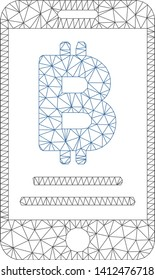Mesh baht mobile payment model icon. Wire frame polygonal mesh of vector baht mobile payment isolated on a white background. Abstract 2d mesh designed with polygonal grid and circle nodes.