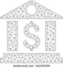 Mesh bank office model icon. Wire frame triangular mesh of vector bank office isolated on a white background. Abstract 2d mesh designed with triangular lines and small circle.
