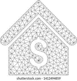 Mesh bank office model icon. Wire carcass polygonal mesh of vector bank office isolated on a white background. Abstract 2d mesh built from triangles and points.