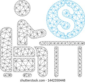 Mesh banker office model icon. Wire carcass triangular mesh of vector banker office isolated on a white background. Abstract 2d mesh designed with triangular lines and dots.