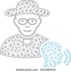Mesh believer confession model icon. Wire carcass triangular mesh of vector believer confession isolated on a white background. Abstract 2d mesh designed with triangular lines and points.