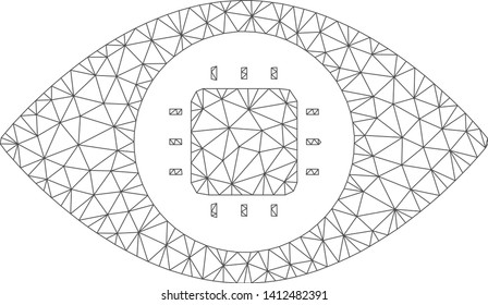 Mesh bionic eye circuit model icon. Wire carcass triangular mesh of vector bionic eye circuit isolated on a white background. Abstract 2d mesh built from triangular lines and small circle.