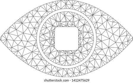 Mesh bionic eye lens model icon. Wire frame triangular mesh of vector bionic eye lens isolated on a white background. Abstract 2d mesh built from triangular lines and points.
