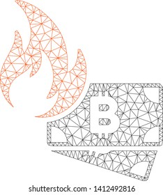 Mesh Bitcoin cash fire model icon. Wire carcass triangular mesh of vector Bitcoin cash fire isolated on a white background. Abstract 2d mesh created from triangular lines and points.