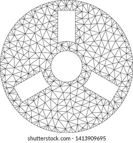 Mesh bobbin polygonal icon vector illustration. Carcass model is based on bobbin flat icon. Triangle mesh forms abstract bobbin flat carcass.