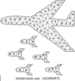 Mesh bomber bombs polygonal icon vector illustration. Carcass model is based on bomber bombs flat icon. Triangular mesh forms abstract bomber bombs flat carcass.