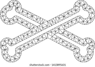 Mesh bones polygonal 2d vector illustration. Carcass model is based on bones flat icon. Triangular mesh forms abstract bones flat carcass.