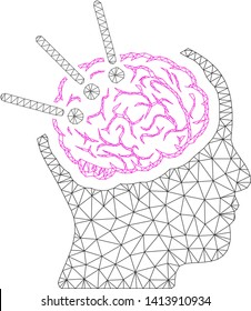 Mesh brain autopsy polygonal 2d vector illustration. Carcass model is based on brain autopsy flat icon. Triangle net forms abstract brain autopsy flat carcass.