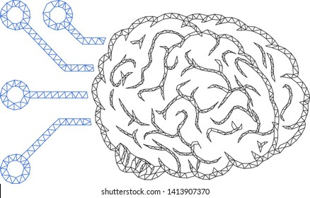 Mesh brain computer interface polygonal icon vector illustration. Carcass model is based on brain computer interface flat icon. Triangular mesh forms abstract brain computer interface flat carcass.