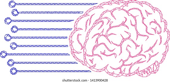 Mesh brain connections polygonal icon vector illustration. Carcass model is based on brain connections flat icon. Triangular mesh forms abstract brain connections flat carcass.