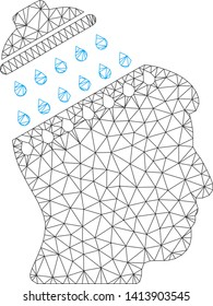 Mesh brain shower polygonal symbol vector illustration. Carcass model is based on brain shower flat icon. Triangle mesh forms abstract brain shower flat carcass.