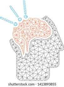 Mesh brain surgery polygonal 2d vector illustration. Carcass model is based on brain surgery flat icon. Triangular mesh forms abstract brain surgery flat carcass.